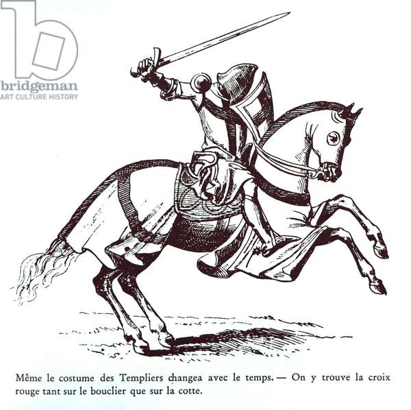 Illustration of a Knight Templar (engraving)