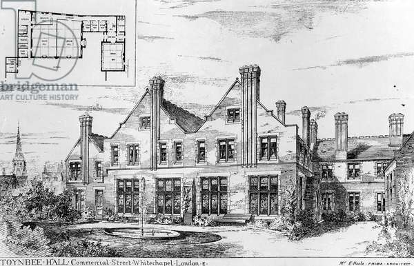 Toynbee Hall, illustration from 'The Builder', February 14th, 1885 (litho)
