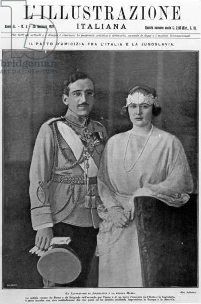 Front Cover of L'Illustrazione Italiana' magazine showing portrait of King Alexander I and Queen Maria of Yugoslavia, published 20th January 1924 (litho)