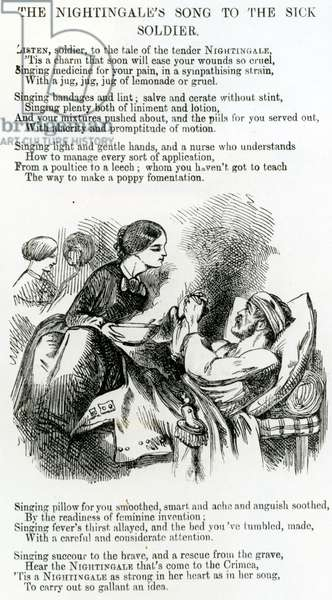Florence Nightingale tending a sick soldier in the Crimea (engraving)