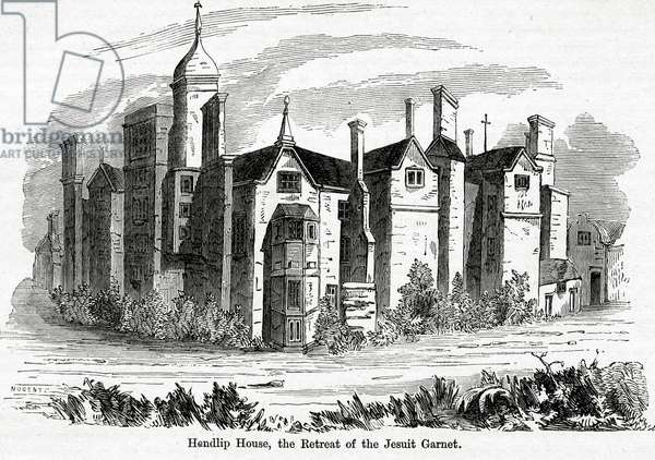 Hendlip House, the Retreat of the Jesuit Garnet, illustration from John Cassell's 'Illustrated History of England vol.3' (1873) (engraving)