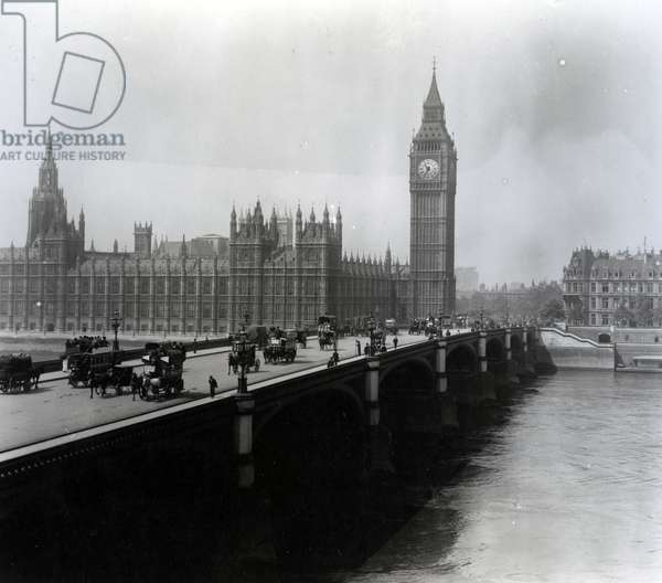 View of Westminster Bridge and the Houses of Parliament (b/w photo)