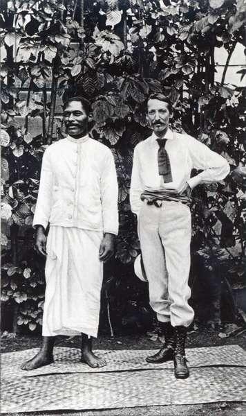Robert Louis Stevenson and his friend Tuimale Aliifono (b/w photo)