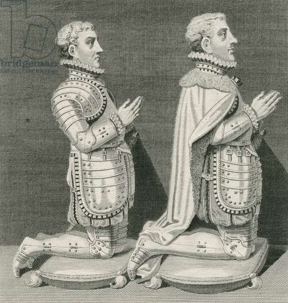 Henry Stuart, Lord Darnley and his brother Charles Stuart, Earl of Lennox, kneeling before their mother's tomb in Westminster Abbey, engraved by Andrew Birrell, 1796 (engraving)