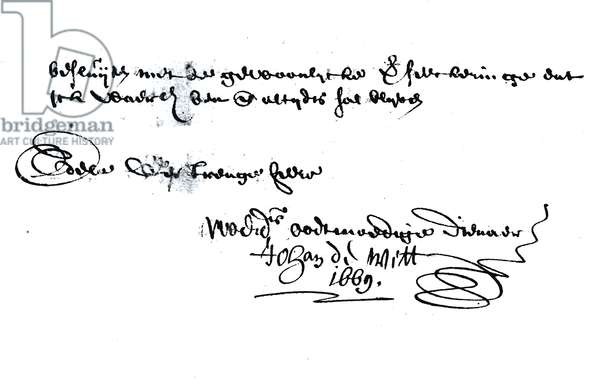 Signature of Johan de Witt (1625-72) (pen & ink on paper) (b/w photo)