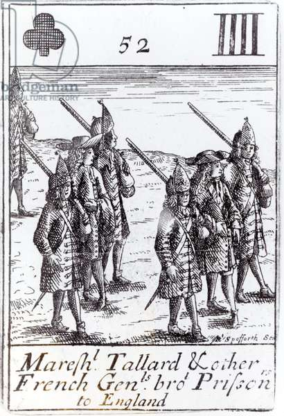 Marshal Tallard and other French Generals Brought Prisoners to England, four of clubs playing card from a set commemorating the War of the Spanish Succession (1702-13) (engraving) (b&w photo)