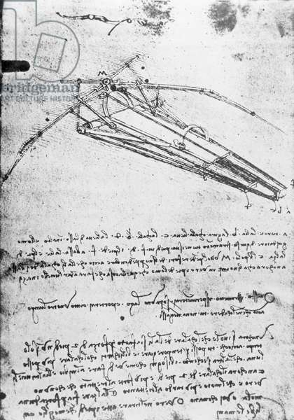 MS B 2173, folio 74v: Study for a flying machine, 1487-1490 (pen & ink on paper)