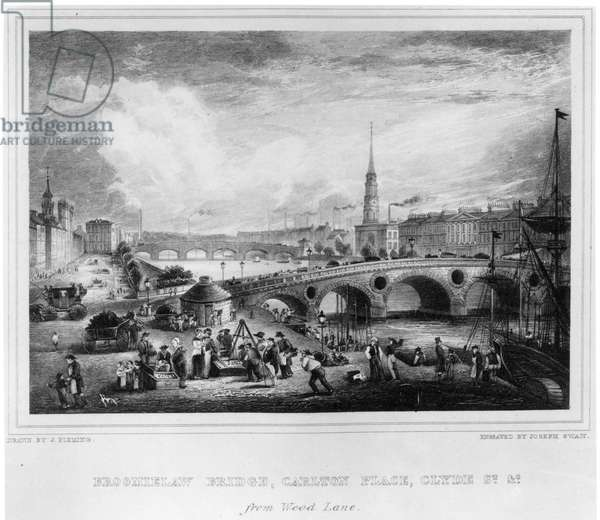 Broomielaw Bridge, Carlton Place, Clyde St., Glasgow, engraved by Joseph Swan, 1830 (engraving)