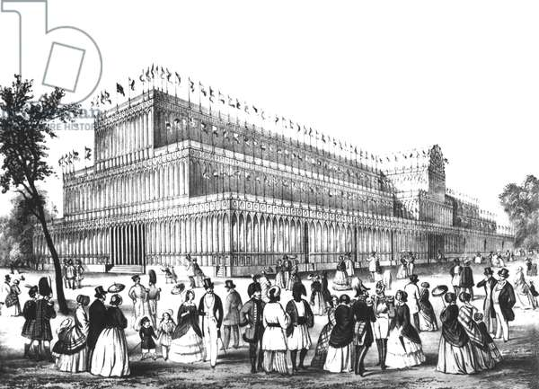 View of the Exterior of the Crystal Palace, built for the Great Exhibition of 1851 (engraving) (b/w photo)