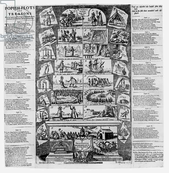 Popish Plots and Treasons from the Beginning of the Reign of Queen Elizabeth, Illustrated with Emblems and Explained in Verse, engraved by Cornelis Danckerts (c.1603-56) (engraving) (b&w photo) (see 108075 for detail)