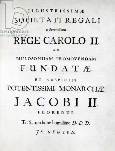 Dedication to the Royal Society of the First edition of Newton's Philosophiae Naturalis Principia Mathematica, 1687 (engraving)