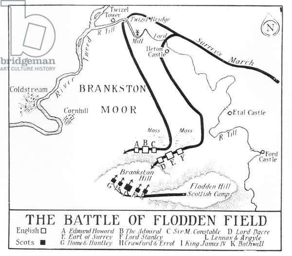 Plan of the Battle of Flodden Field in 1513 (engraving)