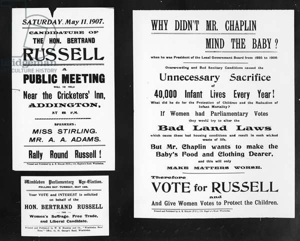 'Why didn't Mr. Chaplin mind the baby?', posters from Bertrand Russell's election campaign, 1907 (printed paper)