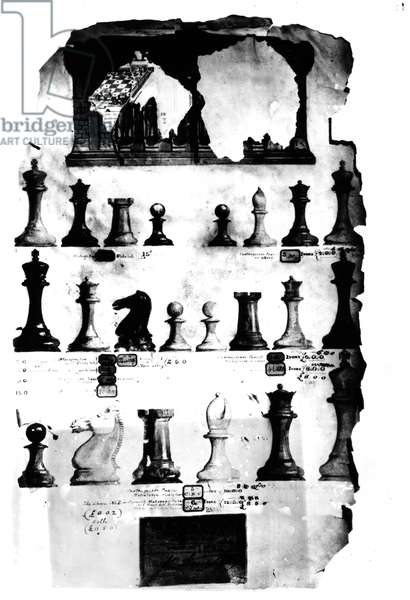 The Staunton Chessmen Patent Drawing (pen and w/c on paper) (b/w photo)