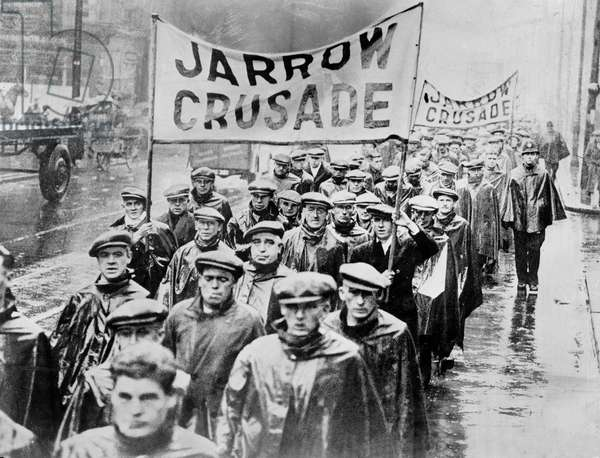 Jarrow Marchers arrive in London, 1936 (b/w photo)