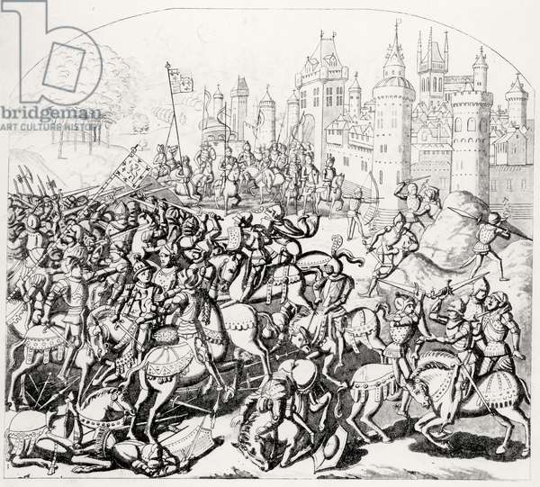 King David of Scotland (1084-1153) comes with a great army before Newcastle-upon-Tyne, 1138 (engraving) (b&w photo)