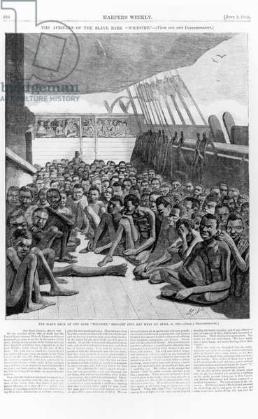The Slave Deck of the Bark 'Wildfire', Brought into Key West on April 30, 1860, illustration from 'Harper's Weekly', June 2 1860 (engraving from a daguerreotype) (b&w photo)