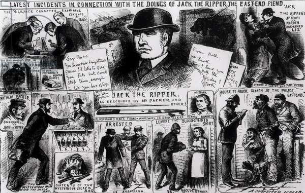 Latest Incidents in Connection with the Doings of Jack the Ripper, the East End Fiend, 1888 (engraving) (b&w photo)