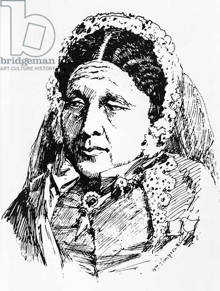 Portrait of Mary Seacole (1805-81) (engraving) (b/w photo)