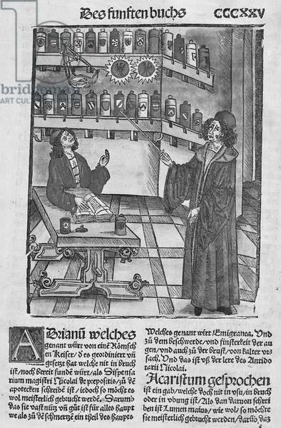 Apothecary's shop, from 'Das Buch der Cirugia' published Strasbourg, 1497 (woodcut)