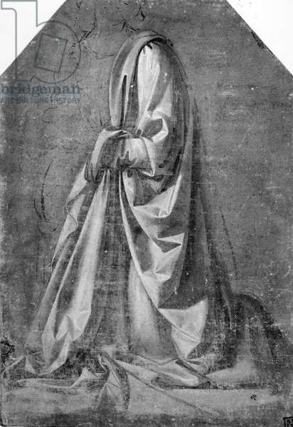 Drapery study for a kneeling figure seen in three-quarter profile to the left, c.1475 (tempera with white heightening on canvas)