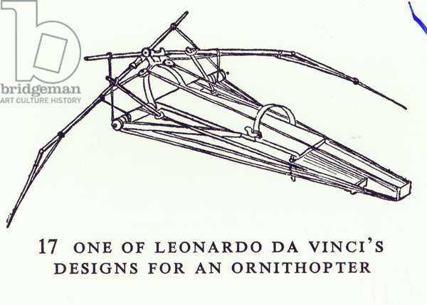 One of Leonardo da Vinci's designs for an Ornithopter, copy of a diagram from Manuscript B, 1488-89 (pen & ink on paper) (b/w photo)