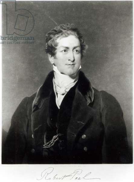 Portrait of Sir Robert Peel (1788-1850) engraved by C. Turner (litho) (b/w photo)