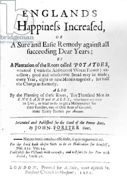 Titlepage to 'England's Happiness Increased' by John Forster, published in 1664 (printed paper)