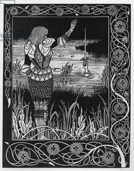 How Sir Bedivere Cast the Sword Excalibur into the Water, an illustration from 'Le Morte d'Arthur' by Sir Thomas Malory, 1893-94 (litho)