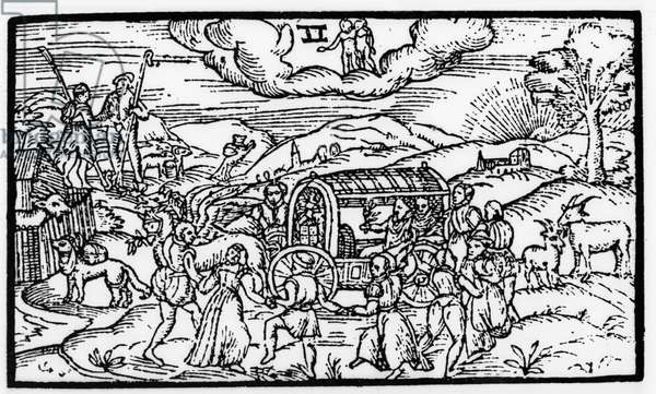 Month of May, from 'The Shepheardes Calender' by Esmond Spenser (1552-99), facsimile of original published in 1579 (woodcut) (b/w photo)