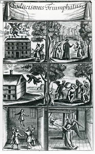 Saducismus Triumphatus, the Second Part, engraved by the artist (engraving) (b&w photo)