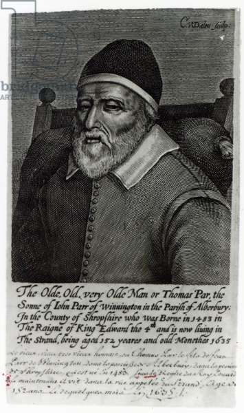 Old Tom Parr, 1635 (engraving) (b/w photo)