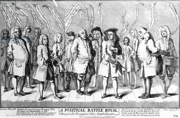 A Political Battle Royal Design'd for Broughton's New Amphitheatre, c.1743 (engraving)