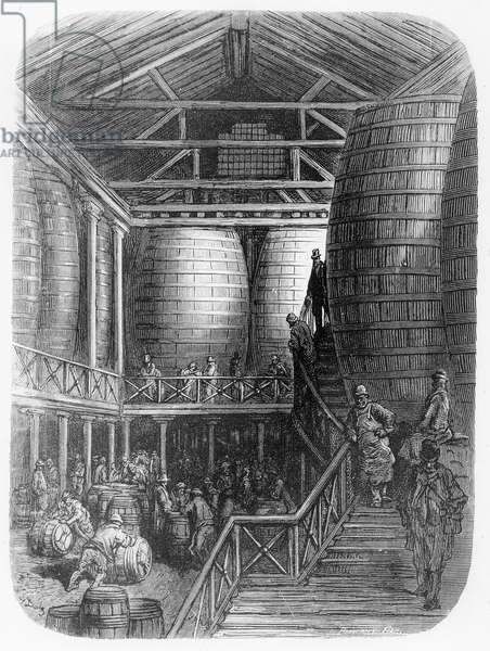 Large barrels in a brewery, from 'London, a Pilgrimage', written by William Blanchard Jerrold (1826-94) & engraved by Pannemaker, pub. 1872 (engraving)