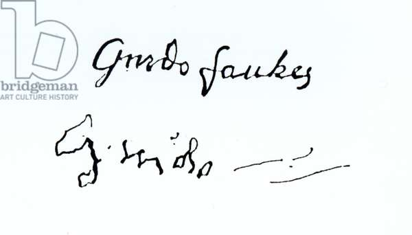 Signature of Guy Fawkes (1570-1606) (engraving) (b&w photo)