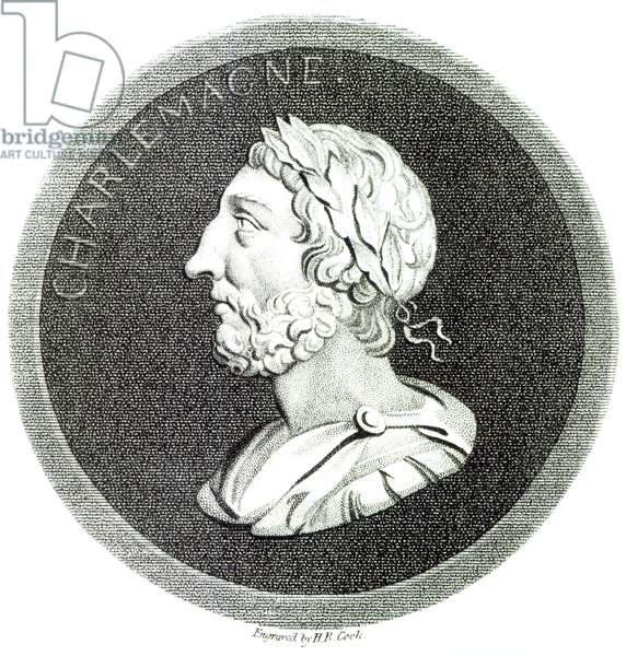 Portrait of Charlemagne, from 'The History of the Decline and Fall of the Roman Empire', Vol 4 Page 121, by Edward Gibbon, 1808 (litho) (b/w photo)