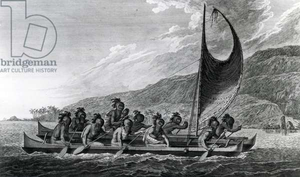 A Canoe of the Sandwich Islands, with the Rowers Masked, 1784 (etching)