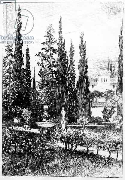 The Landscape Garden, illustration to the story by Edgar Allan Poe, c.1884 (etching)