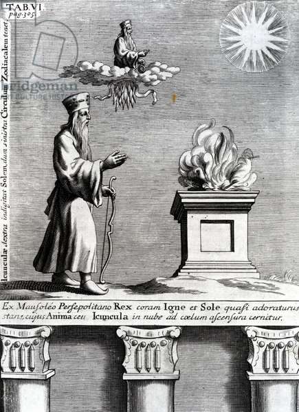 Illustration of Zoroaster worshipping fire and the sun, 1697 (engraving)