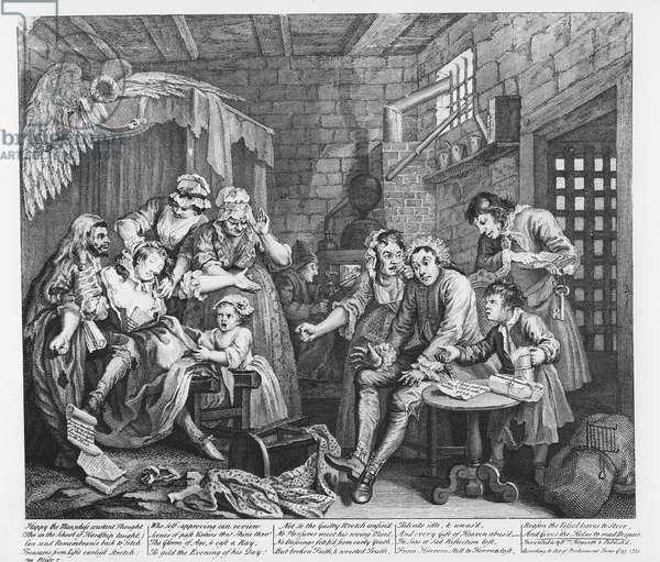 Scene VII: The Rake in Prison, 1735 (engraving)