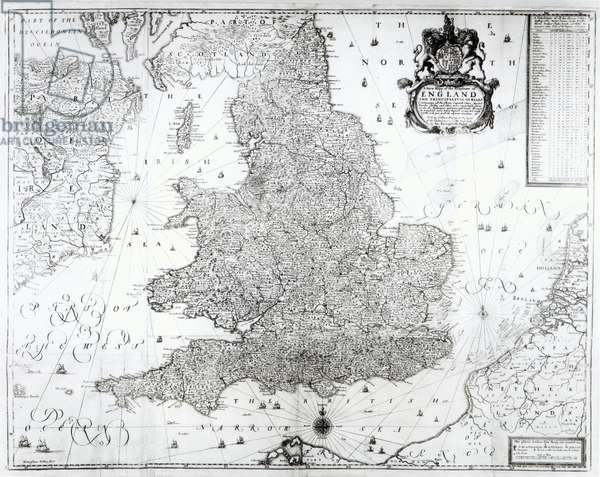 A New Map of the Kingdom of England and the Principalitie of Wales, 1669 (engraving)