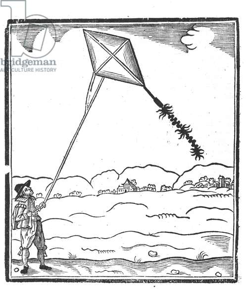 Kite Flying (engraving) (b/w photo)