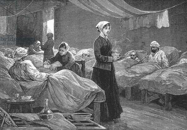 Miss Nightingale in the Barrack Hospital at Scutari, c.1880 (wood engraving)
