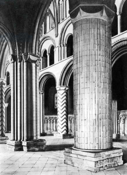 The Nave of Durham Cathedral, 19th Century (engraving)