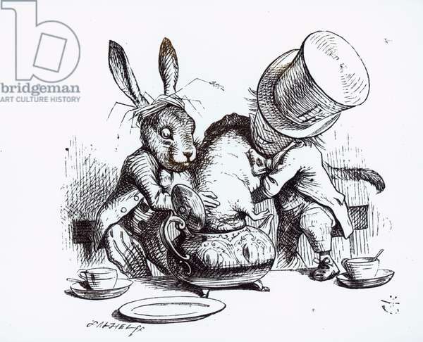 The Mad Hatter and the March Hare putting the Dormouse in the Teapot, illustration from 'Alice's Adventures in Wonderland', by Lewis Carroll, 1865 (engraving) (b&w photo)
