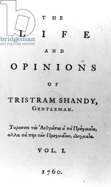 Title page to 'The Life and Opinions of Tristram Shandy, Gentleman' by Laurence Sterne, published in 1760 (engraving)