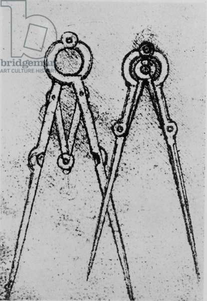 Two types of adjustable-opening compass, fol. 108v from Paris Manuscript H, 1493-4 (pen & ink on paper)