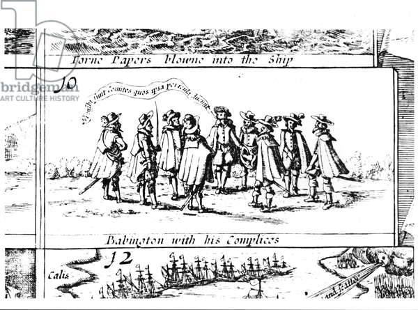 Babington and his Accomplices, detail from Popish Plots and Treasons, engraved by Cornelis Danckerts (c.1603-56) (engraving) (b&w photo) (detail of 108074)