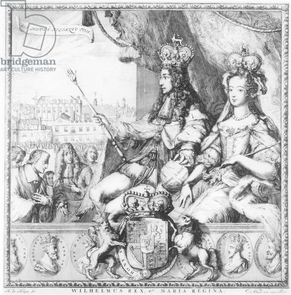 William III (1650-1702) and Mary II (1662-94) engraved by the artist, c.1690 (engraving) (b/w photo)