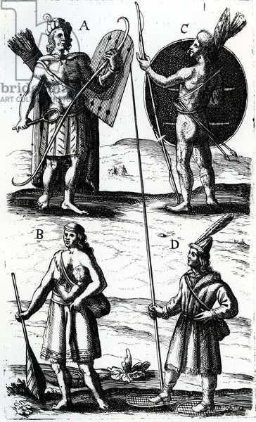 Illustrations of Algonquin dress, engraving from Voyages of Sieur de Champlain by Samuel de Champlain (ca 1574-1635),  17th century (engraving)